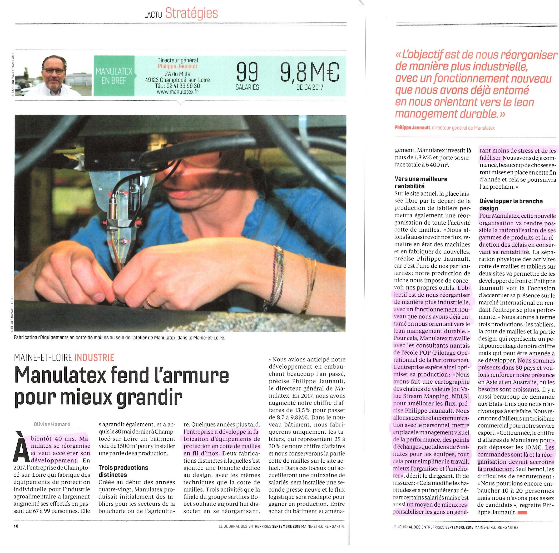 Manulatex - lean management - Ecole POP - management visuel de la performance - VSM